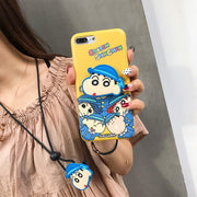 JiBan Cartoon Crayon Small New Airbag Stand Mobile Phone Case For IPhone 6 6S Plus 7 8 Plus X Cases Lanyard IMD Cover
