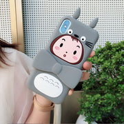JiBan Korean Cartoon Totoro Girl Mobile Phone Case For IPhone 6 6S Plus 7 8 Plus X XS MAX XR Cases Silicone Drop-proof Cover