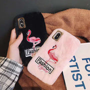 JiBan Plush Embroidered Flamingo Mobile Phone Case For IPhone 6 6S Plus 7 8 Plus XS XR MAX Black Pink Soft Shell Female