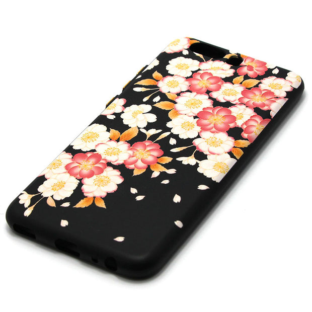 Karribeca 3D Relief Silicone Case For Huawei P10 Cover Plum Peach Flower Tpu Soft Cases Huawei P10 Coque Etui Kryt Tok Husa Skal