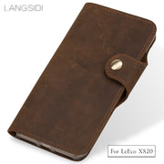 LANGSIDI Genuine Leather Phone Case Leather Retro Flip Phone Case For LeEco X820 Handmade Phone Case