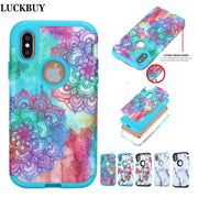 LUCKBUY For Apple IPhone X Flower Silicone Armor Case Shockproof Triple Layer Heavy Duty Hybrid Rubber Armor Hard Case Card Slot
