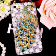 LaMaDiaa Fashion Girl Woman Lady Pearl Peacock Phone Case For IPhone 5 SE 6 6S 7 8 7Plus 6/8Plus X XS MAX XR Diamond Case