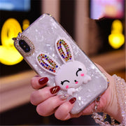 LaMaDiaa For IPhone 6 6s 7 8 Plus X XS MAX XR Fresh Cute Diamond Stick Drill Rabbit Shell Phone Case Cover