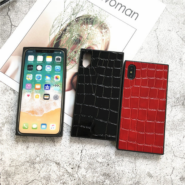 Leather Crocodile Skin Texture Square Phone Case Non-Slip Case For Business Apply To IPhone 6 6S 7 8 Plus X