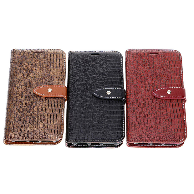 Leather Magnetic Flip Card Slot Wallet Purse Case Skin Crocodile For IPhone 8