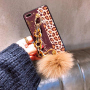 Leopard Print Metallic Plush Silicone Phone Case For IPhone X 7 6 6S 8 Plus Case For Iphone X XS MAX XR 8Plus 7Plus Coque Fundas