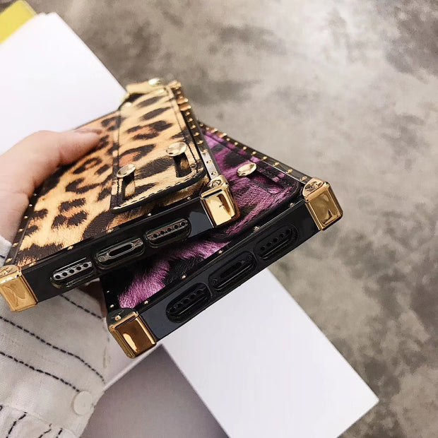 Leopard Wristband Bracket Protector Cases For Iphone6 6splus 7 8plus X Xr Xs Xsmax Square Four-corner Plated Phone Back Shell