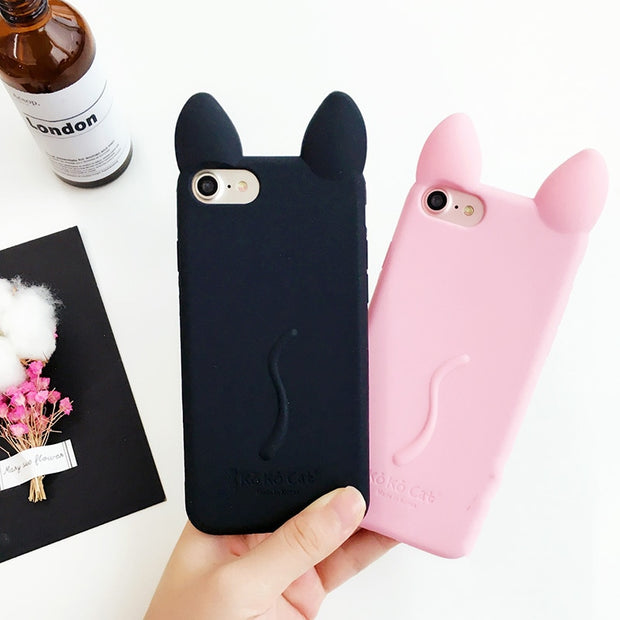 Lovely Cartoon Cute Kitty Cat 3D Silicon Phone Case For IPhone 7 7plus 6 6s 6plus 6splus New Coming High Quality Cases