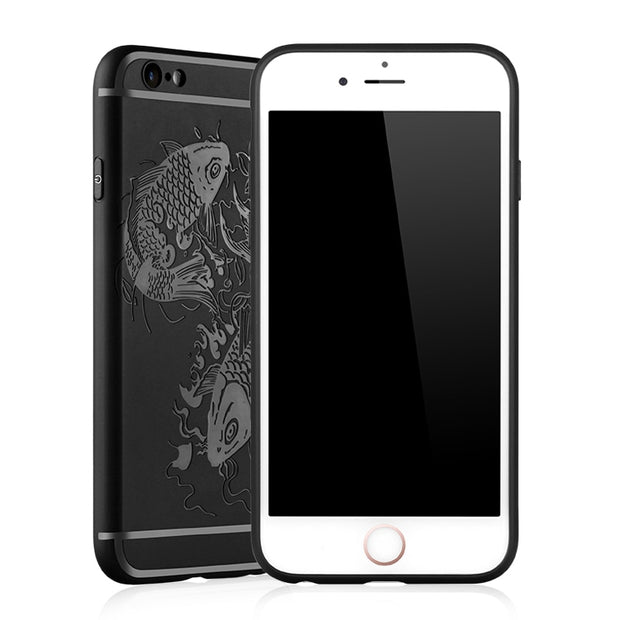 Luck Fish Relief Anti-knock Armor Silicon Phone Back Cover For IPhone 5 5S SE 6 6S 7 7 Plus Slim Shockproof Fundas Capa Coque