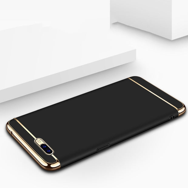 Luxury 3 In 1 Phone Case For OPPO R11 Case 360 Degree Protection Hard Back Cover Ultra Thin Slim For OPPO R11 Plus Women Gold