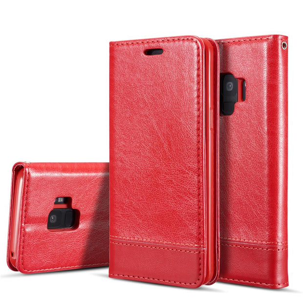 Luxury Business Magnetic Retro Litchi Leather Case For Samsung Galaxy S9 Plus Cover Wallet Phone Cases Flip Pouch Shell Fundas