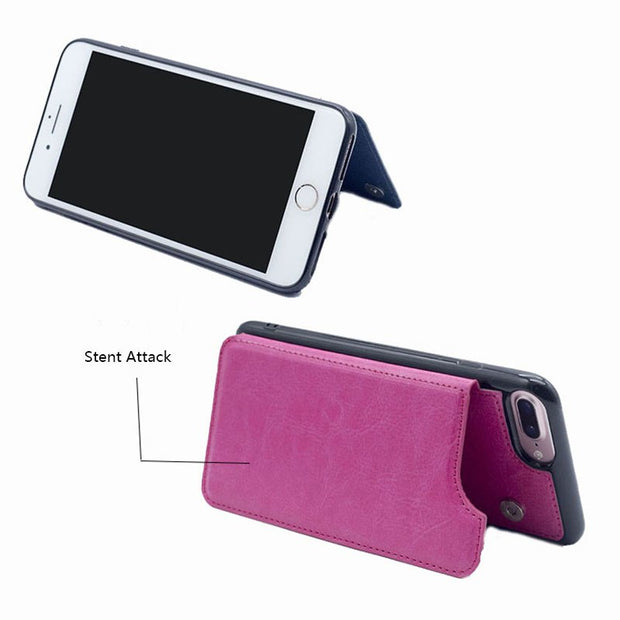 Luxury Flip Leather Bracket Mobile Phone Case For Iphone 6 7 8P XS Leather All-Inclusive Flip Cover With Card Slot