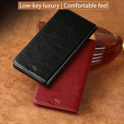 Luxury Genuine Leather Flip Case For HUAWEI P9 P10 P20 Pro Mate 9 10 Lite P Smart Nova 3 Wax & Oil Leather For Honor 7X Note 10