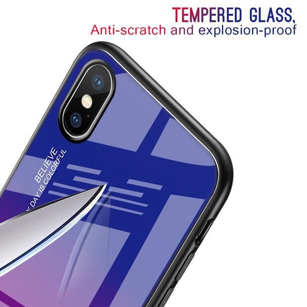 Luxury Gradient Case For iPhone 6 6S 7 8 Plus XS MAX XR X Case Tempered Glass Soft Frame Cover For iPhone 7 8 XS MAX Slim Shell