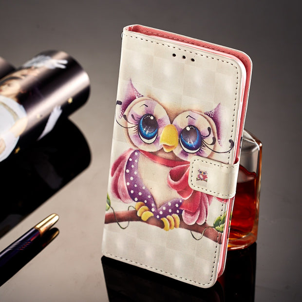 Luxury Leather Flip Owl Phone Case For Samsung Galaxy J3 J5 J7 2017 A5 2017 A8 2018 S7 Edge S8 S9 Plus Magnets Wallet Funda Skin