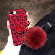 Luxury Leopard Pattern Xsmax Mobile Phone Shell 6 6S Popular For IPhone 8 Case 7 Cute Plush Hairball Hanging Rope X Fitted Case