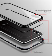 Luxury Magneto Magnetic Adsorption Case For IPhone X XR Xs Max Aluminum Metal Frame Cover For IPhone 8 7 Plus Glass Back Panel