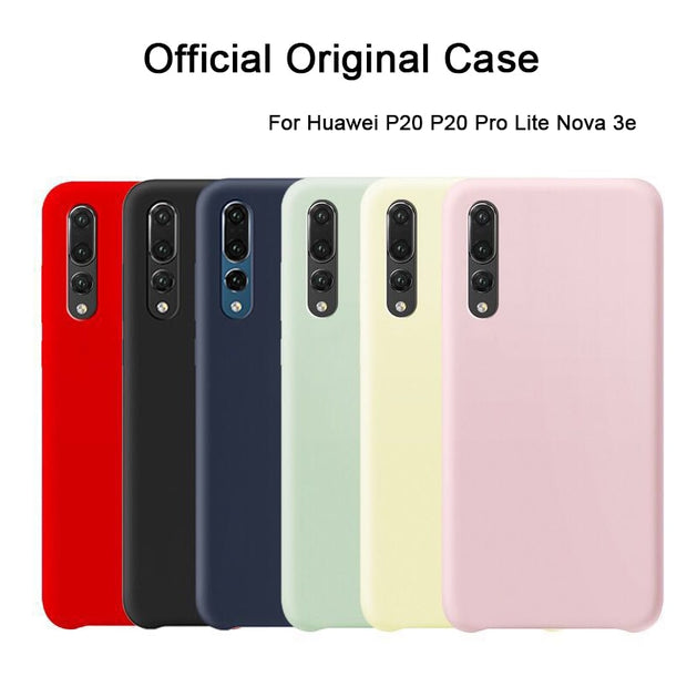 Luxury Original Official Silicone Case For Huawei P20 P20 Pro P20 Lite Soft Touch Cover For Nova 3e Protective Cases Retail Box