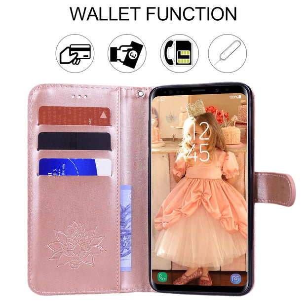 Luxury PU Leather Flip Phone Case For Samsung Galaxy S8 S9 Plus Cover Floral Card Holder Wallet Case For Samsung S8 S9 Plus