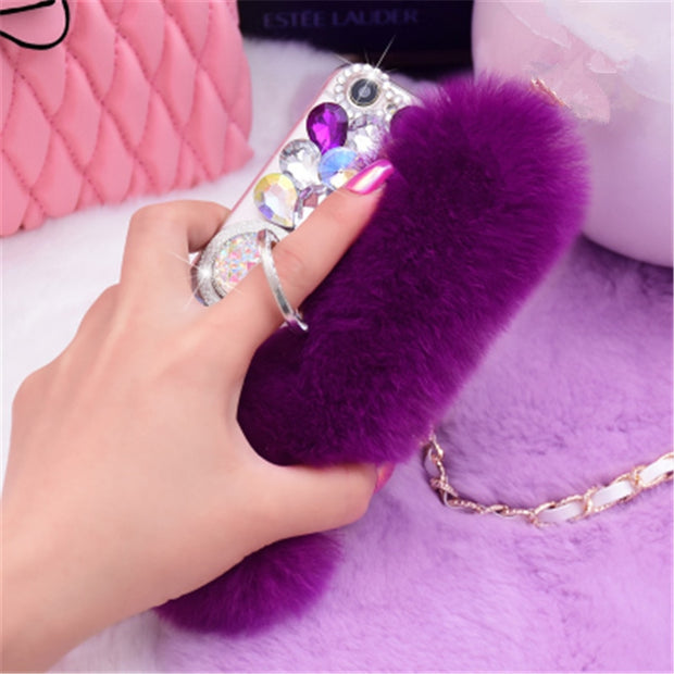 Luxury Rabbit Fur Case For Samsung C9 C10 A6 A8 A7 A5 J5 J6 J7 J8 Cover Fashion Bling Diamond Soft Furry Shell Plush Phone Cases