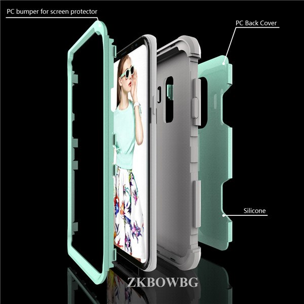 Luxury Tough Shockproof Armor Phone Case For Samsung Galaxy S9 Plus Hybrid PC+silicone Protective Cover For Samsung S9Plus