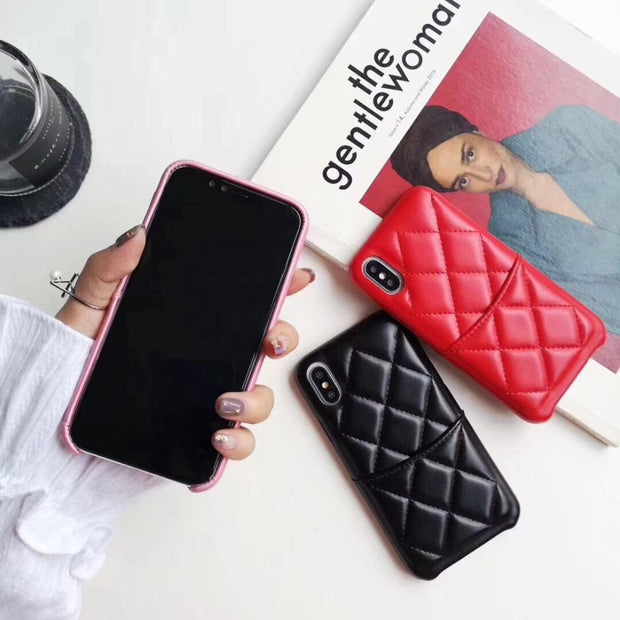 Luxury Fashion Square High Quality Leather Goddess Pink Card Integrated Cover Case For Iphone 6 7 8 Plus X XR XS MAX Phone Cases