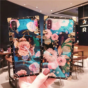 Luxury Flower Glossy Blue-ray Fashion Phone Case For IPhone 6 S 6s 7 8 Plus X Back Cover With Holder StandColorful Case Fundas