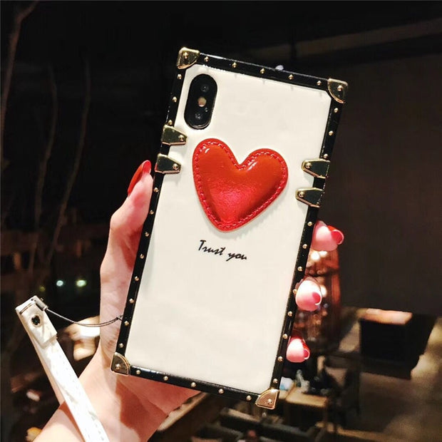 Luxury Metal Square Fashion 3D Red Heart Couple Original Gift Cover Case For Iphone 6 6Plus 7 7plus 8 8Plus X Phone Cases