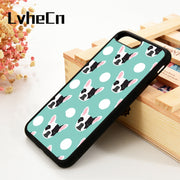 LvheCn 5 5S SE 6 6S Phone Cases For IPhone 7 8 PLUS X Xs Max XR French Bulldog Pattern Polka Dogs Dog Head Funny Lover Frenchie