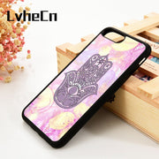 LvheCn 5 5S SE 6 6S Phone Cover Case For IPhone 7 8 PLUS X Xs Max XR Soft Silicone Rubber Evil Eye Guard Hamsa Hand Pattern Cute