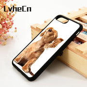 LvheCn 5 5S SE 6 6S Phone Cover Cases For IPhone 7 8 PLUS X Xs Max XR Soft Silicone Rubber Cute Animal Cocker Spaniels Dog Puppy