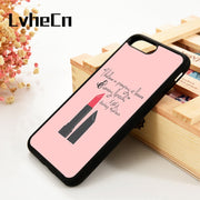 LvheCn 5 5S SE 6 6S Phone Cover Cases For IPhone 7 8 PLUS X Xs Max XR Soft Silicone Rubber Audrey Hepburn Lipstick Quote