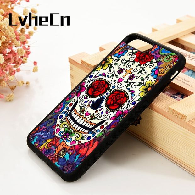 LvheCn 5 5S SE 6 6S Phone Cover Cases For IPhone 7 8 PLUS X Xs Max XR Silicone Pretty Floral Colorful Sugar Skull Rose Flower