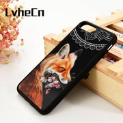 LvheCn 5 5S SE 6 6S Phone Cover Cases For IPhone 7 8 PLUS X Xs Max XR Silicone Cute Cool Fox With Flowers And Mandala Pattern