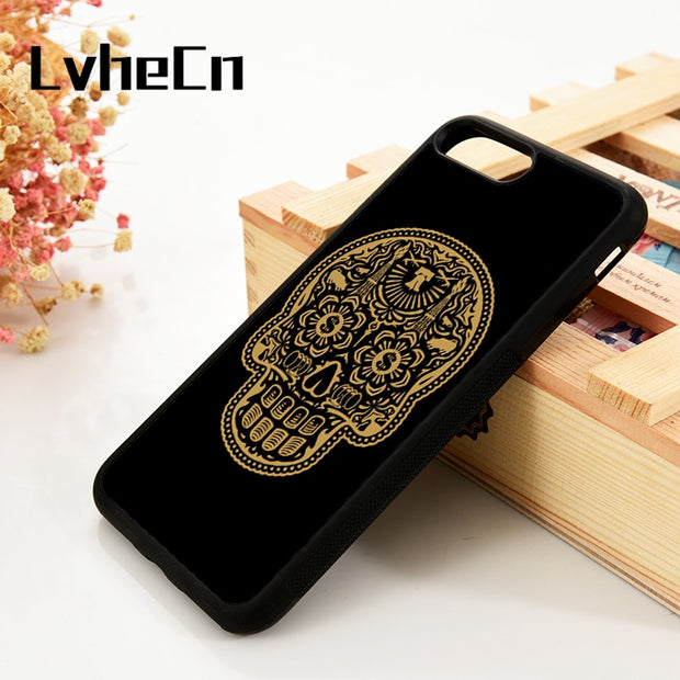 LvheCn 5 5S SE 6 6S Phone Cover Cases For IPhone 7 8 PLUS X Xs Max XR Soft Silicone Rubber SUGAR SKULL GOLDEN