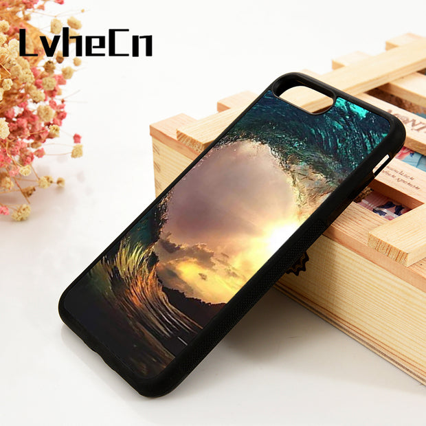 LvheCn 5 5S SE 6 6S Phone Cover Cases For IPhone 7 8 PLUS X Xs Max XR Soft Silicone Rubber Extreme Sports Surfing