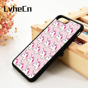 LvheCn 5 5S SE 6 6S Phone Cover Cases For IPhone 7 8 PLUS X Xs Max XR Unicorn Emoji Pattern On Pink Grunge Goth Hipster Cool