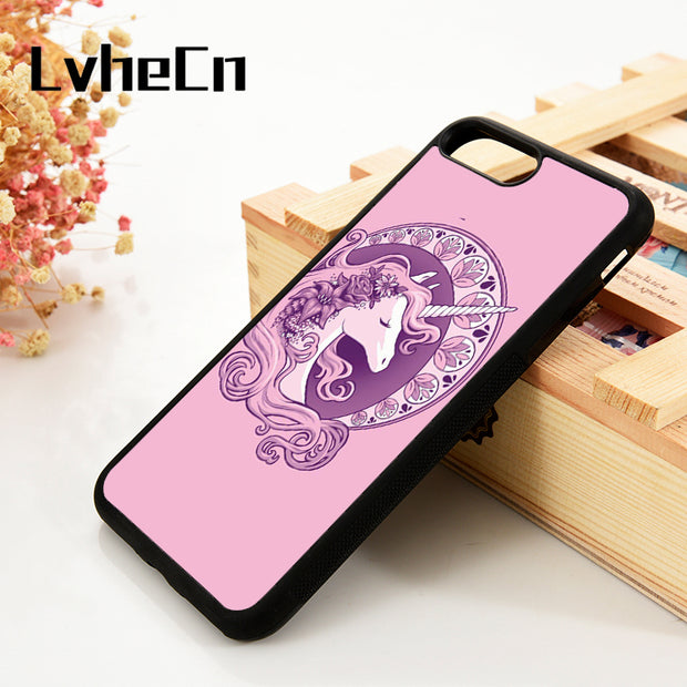 LvheCn 5 5S SE 6 6S Phone Cover Cases For IPhone 7 8 PLUS X Xs Max XR Soft Silicone Rubber Purple Girly Pink Cute Unicorn