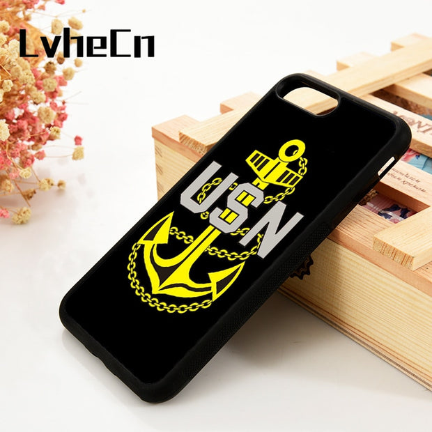 LvheCn 5 5S SE 6 6S Phone Cover Cases For IPhone 7 8 PLUS X Xs Max XR Soft Silicone Rubber US Navy Army USN Military Anchor