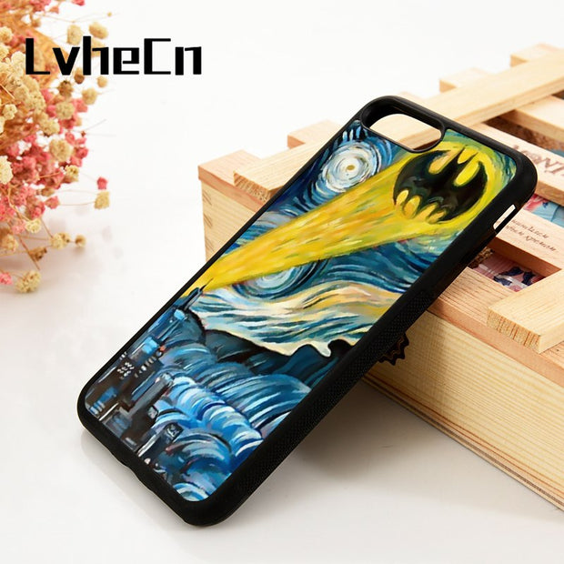 LvheCn 5 5S SE 6 6S Phone Cover Cases For IPhone 7 8 PLUS X Xs Max XR Soft Silicone Rubber Starry Night Batman Colorful