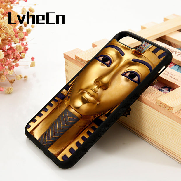 LvheCn 5 5S SE 6 6S Phone Cover Cases For IPhone 7 8 PLUS X Xs Max XR Soft Silicone Rubber Tutankhamen Egyptian Pharaoh