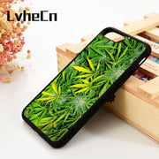 LvheCn 5 5S SE 6 6S Phone Cover Cases For IPhone 7 8 PLUS X Xs Max XR Soft Silicone Weed Marijuana Cannabis Leaf Pattern Cool