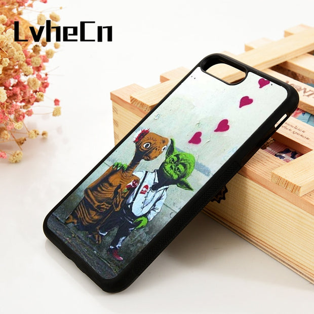 LvheCn 5 5S SE 6 6S Phone Cover Cases For IPhone 7 8 PLUS X Xs Max XR Soft Silicone Rubber ET Yoda Banksy Street Art