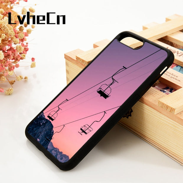 LvheCn 5 5S SE 6 6S Phone Cover Cases For IPhone 7 8 PLUS X Xs Max XR Soft Silicone Rubber Extreme Sports Skiing