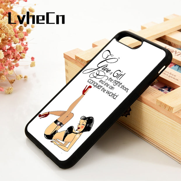 LvheCn 5 5S SE 6 6S Phone Cover Cases For IPhone 7 8 PLUS X Xs Max XR Soft Silicone Rubber Funny Cute Marilyn Monroe Shoe Saying