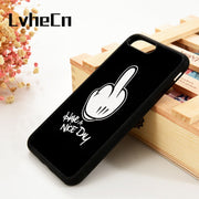 LvheCn 5 5S SE 6 6S Phone Cover Cases For IPhone 7 8 PLUS X Xs Max XR Soft Silicone Rubber Mickey Hand Have A Nice Day Cool