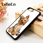 LvheCn 5 5S SE 6 6S Phone Cover Cases For IPhone 7 8 PLUS X Xs Max XR Soft Silicone Yorkshire Terrier Yorkie Dog Inked Pattern