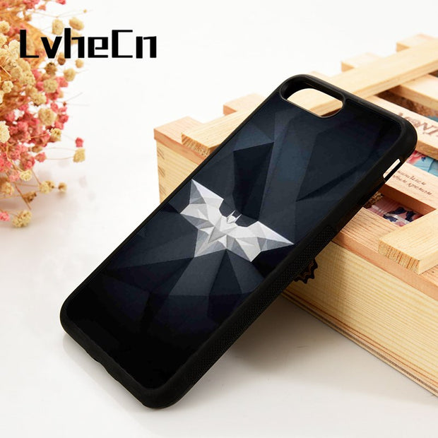 LvheCn 5 5S SE 6 6S Phone Cover Cases For IPhone 7 8 PLUS X Xs Max XR SiliconeThe Dark Knight DC Universe Superhero Batman Logo