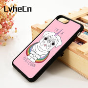 LvheCn 5 5S SE 6 6S Phone Cover Cases For IPhone 7 8 PLUS X Xs Max XR Soft Silicone Rubber Funny Pug Unicorn Pattern